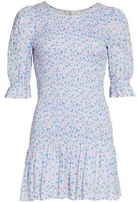 LoveShackFancy Luppa Printed Ruffle Mini Dress