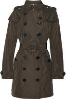 Burberry Balmoral Packaway Hooded Shell Trench Coat - Army green