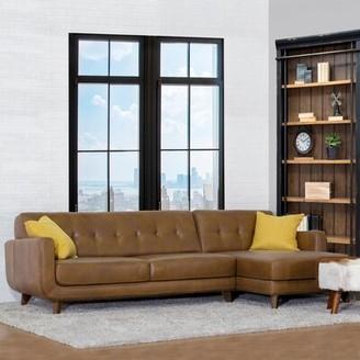 Elva Leather Sectional Corrigan Studio Orientation: Right Hand Facing, Fabric: Tan