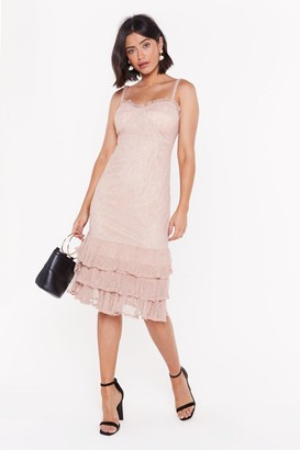 Nasty Gal Womens Frill Down Lace Maxi Dress - Oyster