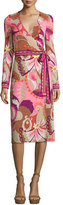 Trina Turk Long-Sleeve Floral Wrap Dress, Shrimp