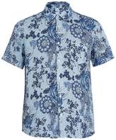 120% Lino 120 LINO Short-sleeved floral-print shirt
