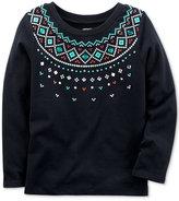 Carter's Fair Isle-Print Cotton T-Shirt, Toddler Girls (2T-5T)