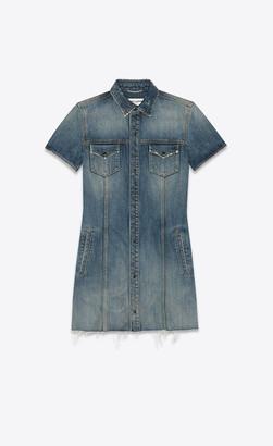Saint Laurent Dresses Raw-edge Jean Dress In Arizona Light Blue Denim Arizona Light Blue 10
