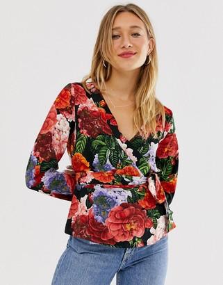 Monki floral wrap blazer-Multi