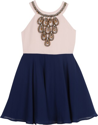 Pippa & Julie Crystal Embellished Chiffon Dress