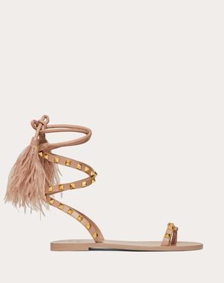 Valentino Rockstud Flair Calfskin Flat Flip-flop Sandal Women Rose Cannelle 100% Lambskin 36.5