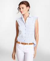 Brooks Brothers Clip-Dot Supima Cotton Dobby Blouse