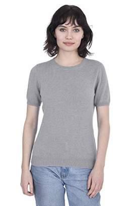 Cashmeren Short Sleeve Crewneck Sweater Top 100% Cashmere Jewel Neck Pullover Tee for Women (