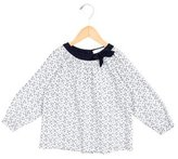 Tartine et Chocolat Girls' Floral Print Bow-Adorned Top