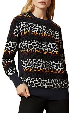 Ted Baker Striped Animal Print Pullover Sweater