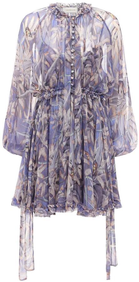 Zimmermann Botanica Drawn Chiffon Mini Dress