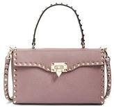 Valentino 'Rockstud' Calfskin Leather Single Handle Shoulder Bag - Purple