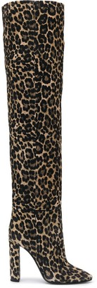 Saint Laurent 76 Leopard-Print Over-The-Knee Boots