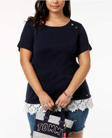 Tommy Hilfiger Plus Size Cotton Lace-Trim Top, Created for Macy's