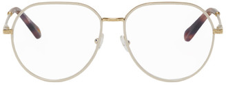Chloé Gold and Off-White Metal Square Glasses