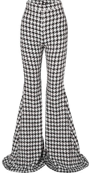 Balmain Houndstooth Cotton-blend Tweed Flared Pants - Black