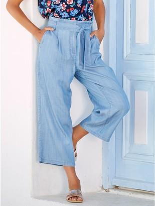 M&Co Tencel wide leg cropped trousers
