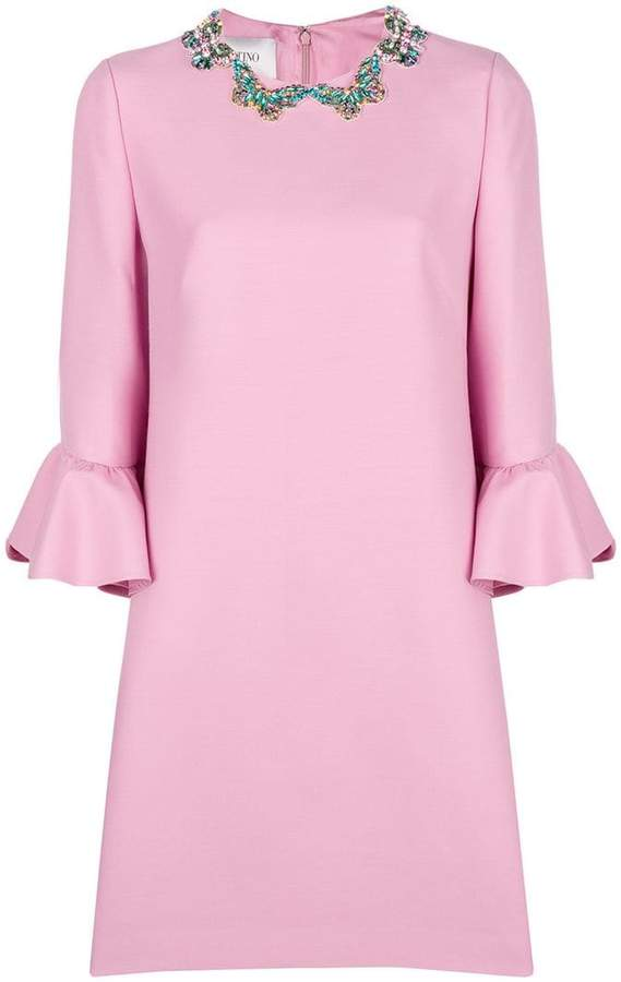 Valentino butterfly embellished collar shift dress