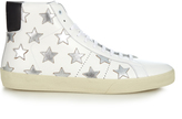 Saint Laurent Star-embellished high-top leather trainers