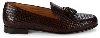 Saks Fifth Avenue Made In Italy Woven Leather Tassel Loafers