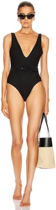 Jonathan Simkhai Seaton Lace Up Swimsuit in Black | FWRD