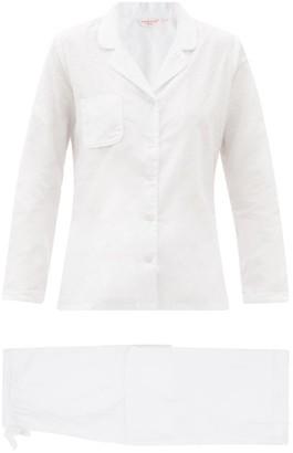 Derek Rose Kate Polka Dot-jacquard Cotton Pyjamas - White Multi