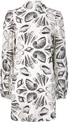 Alexander McQueen Shell print crepe dress