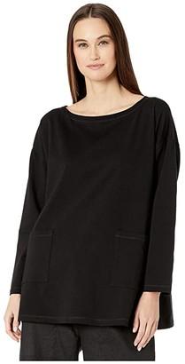 Eileen Fisher Organic Cotton Stretch Jersey Bateau Neck Tunic (Black) Women's Clothing