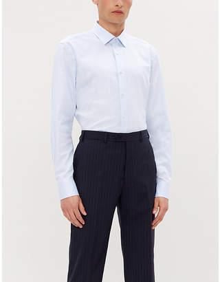 BOSS Textured geometric-print cotton shirt
