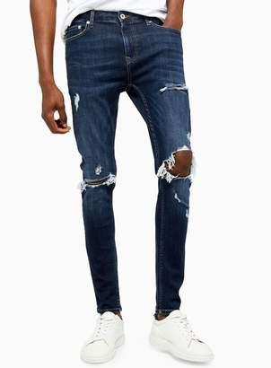 TopmanTopman Dark Wash Blow Out Spray On Jeans