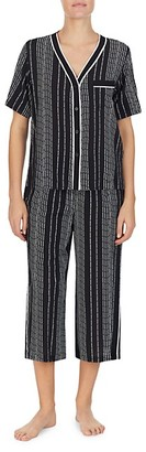 DKNY 2-Piece Striped Top Capri Pajama Set