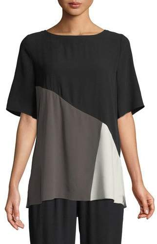 Eileen Fisher Short-Sleeve Colorblock Silk Top