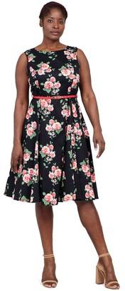 M&Co Izabel Curve floral belted skater dress
