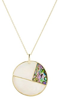 Argentovivo Mother-of-Pearl Mosaic Pendant Necklace in 18K Gold-Plated Sterling Silver, 23