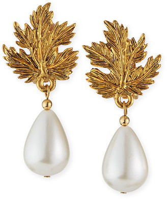 Kenneth Jay Lane Leaf Clip Pearly Earrings