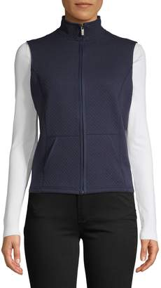 Karen Scott Petite Quilted Cotton-Blend Fleece Vest
