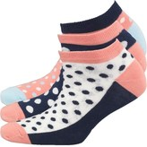 Original Penguin Womens Three Pack Trainer Liner Socks Navy Spot
