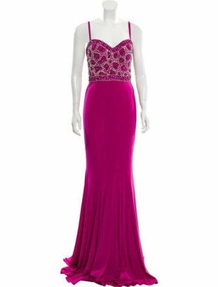 Jovani Plunge Neckline Long Dress Pink