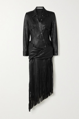 Alexander Wang Asymmetric Fringed Draped Leather Shirt Dress - Black