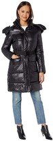 Sam Edelman Hooded 3/4 Puffer (Black) Women's Coat