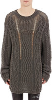 Maison Margiela Men's Mixed-Stitch Oversized Sweater-DARK GREY