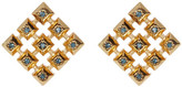 House Of Harlow Blue Rhinestone Embellished Grid Square Stud Earrings