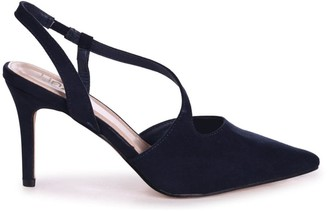 Linzi BERKELEY - Navy Suede Wrap Around Sling Back Court Heel