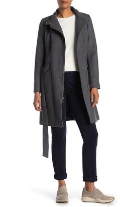 Cole Haan Wool Blend Mock Neck Zip Coat