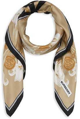 Burberry Reversible Floral Print Archive Large Square Scarf
