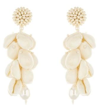 Oscar de la Renta Beaded Shell Earrings