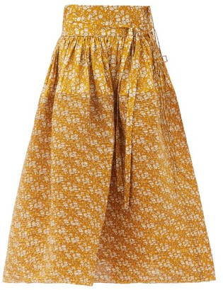 Horror Vacui Toga Pintucked Floral-print Cotton Skirt - Light Brown