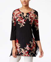 JM Collection Floral-Print Keyhole Tunic, Only at Macy's