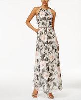 SL Fashions Embellished Floral-Print Halter Gown